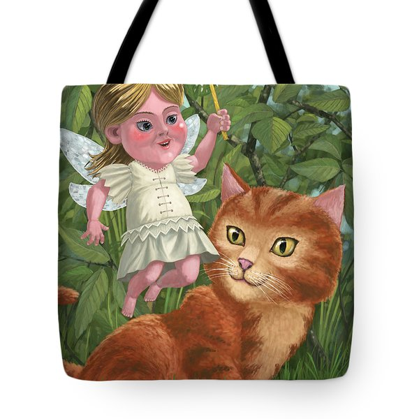 kitten with girl fairy in garden Tote Bag by Martin Davey