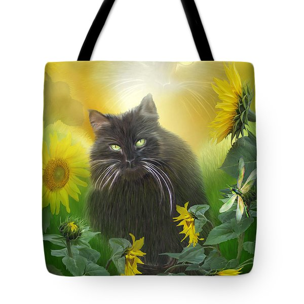 Kitty In The Sunflowers Tote Bag by Carol Cavalaris