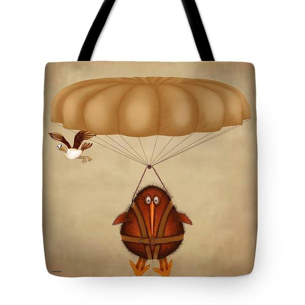 Kiwi Bird Kev Parachuting Tote Bag by Marlene Watson
