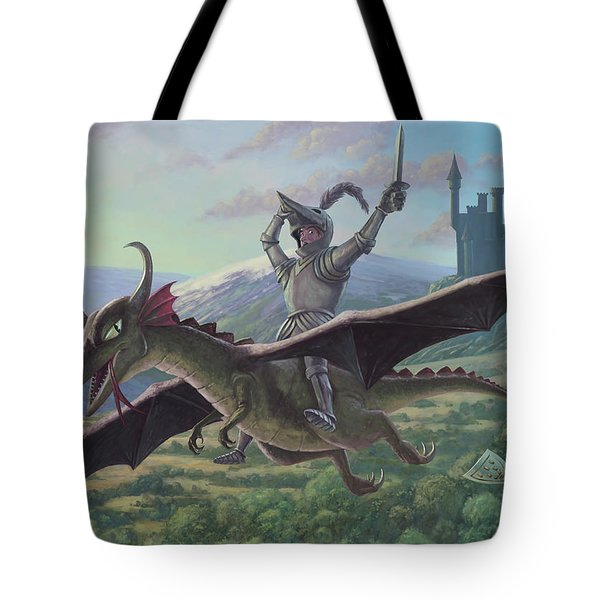 knight riding on flying dragon Tote Bag by Martin Davey