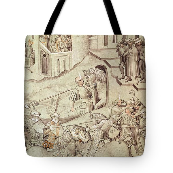 Knights Jousting Tote Bag by Bohemian School