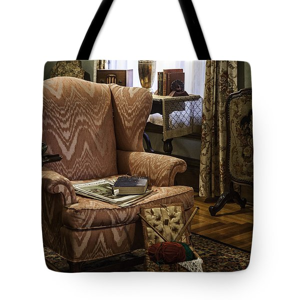 Knitting And Reading Materials Tote Bag by Lynn Palmer