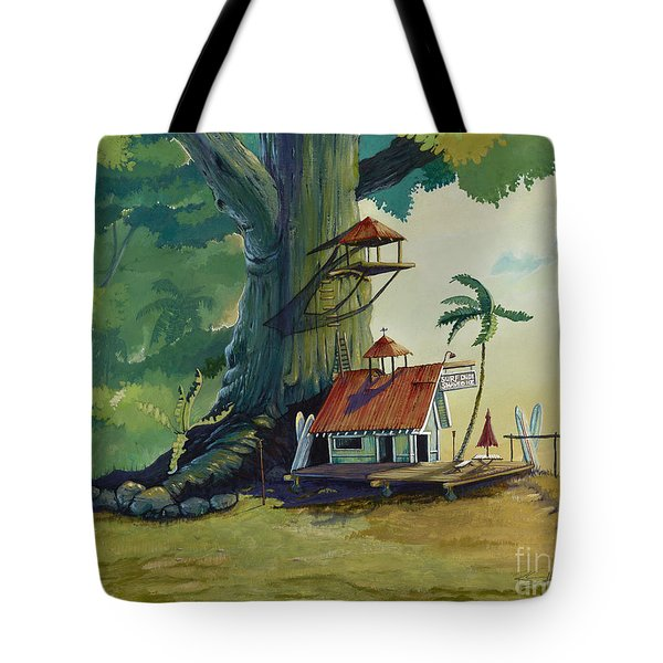 Ko' olau Surf Shack Tote Bag by Bill Shelton