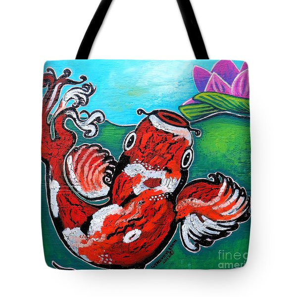 Koi Fish And Water Lily Tote Bag by Genevieve Esson