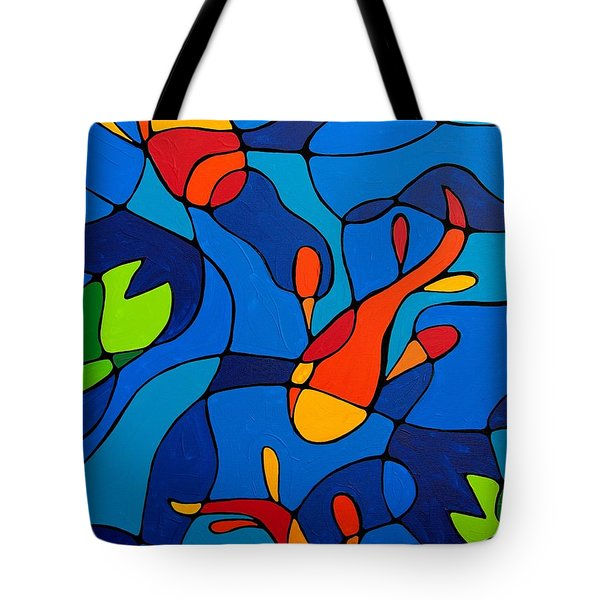 Koi Joi - Blue And Red Fish Print Tote Bag by Sharon Cummings