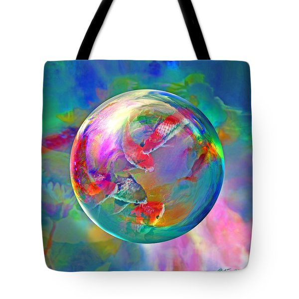 Koi Pond In The Round Tote Bag by Robin Moline