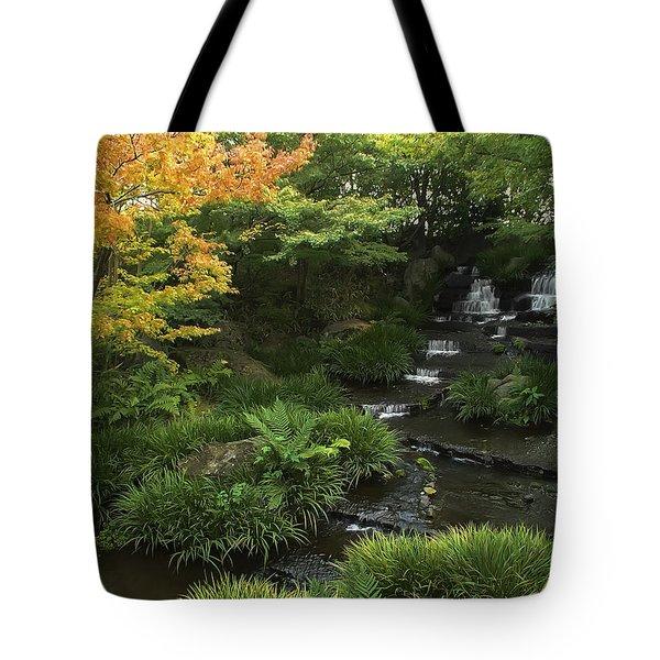 Kokoen Garden Waterfall - Himeji Japan Tote Bag by Daniel Hagerman