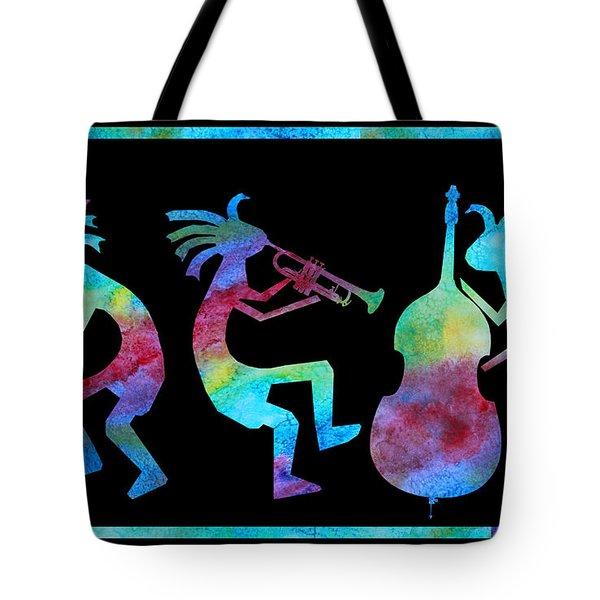 Kokopelli Jazz Trio Tote Bag by Jenny Armitage