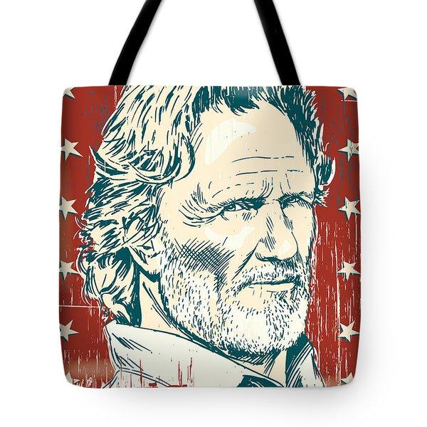 Kris Kristofferson Pop Art Tote Bag by Jim Zahniser
