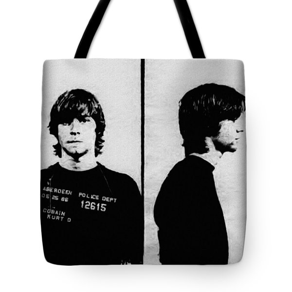 Kurt Cobain Mugshot Tote Bag by Bill Cannon