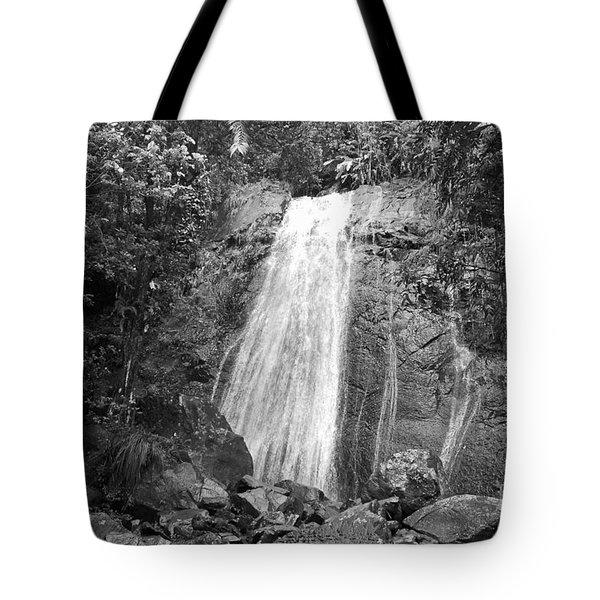 La Coca Falls El Yunque National Rainforest Puerto Rico Print Black And White Tote Bag by Shawn O'Brien