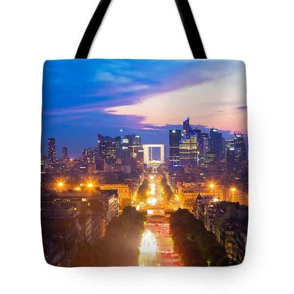 La Defense And Champs Elysees At Sunset In Paris France Tote Bag by Michal Bednarek