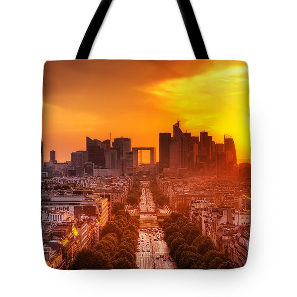La Defense and Champs Elysees at sunset Tote Bag by Michal Bednarek