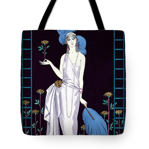 'la Roseraie' Fashion Design For An Evening Dress By The House Of Worth Tote Bag by Georges Barbier
