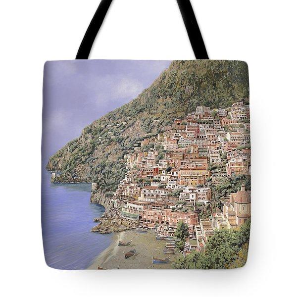 la spiaggia di Positano Tote Bag by Guido Borelli