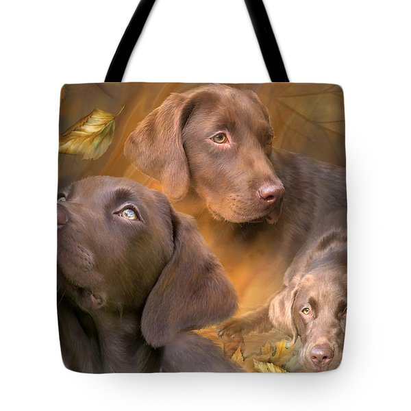 Lab In Autumn Tote Bag by Carol Cavalaris