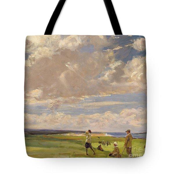 Lady Astor Playing Golf At North Berwick Tote Bag by Sir John Lavery