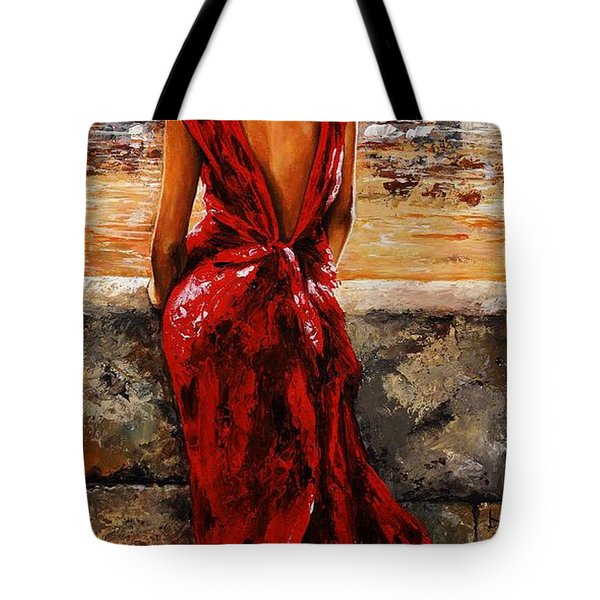 Lady In Red  34 -  I Love Budapest Tote Bag by Emerico Imre Toth