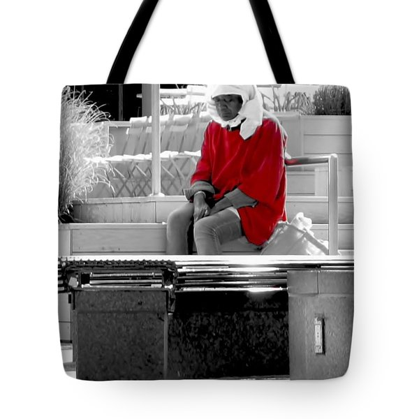 Lady In Red Tote Bag by Lilliana Mendez