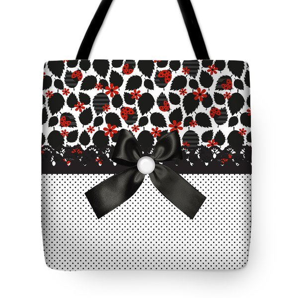Ladybugs Leaves  Tote Bag by Debra  Miller
