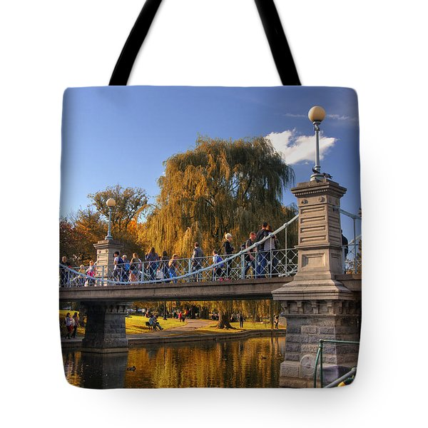 Lagoon Bridge in Autumn Tote Bag by Joann Vitali
