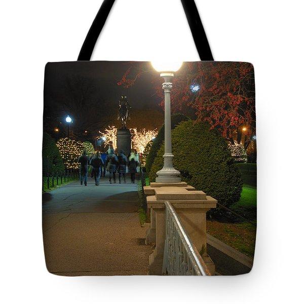 Lagoon Bridge Lights Tote Bag by Joann Vitali