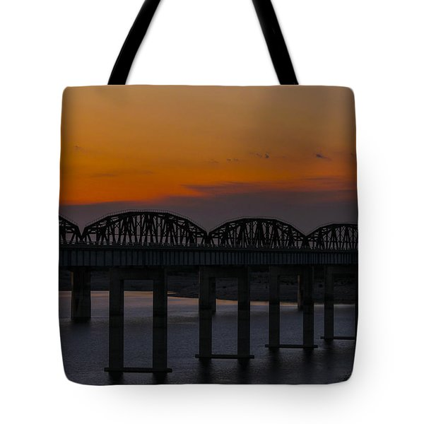 Lake Amistad Sunset Tote Bag by Amber Kresge