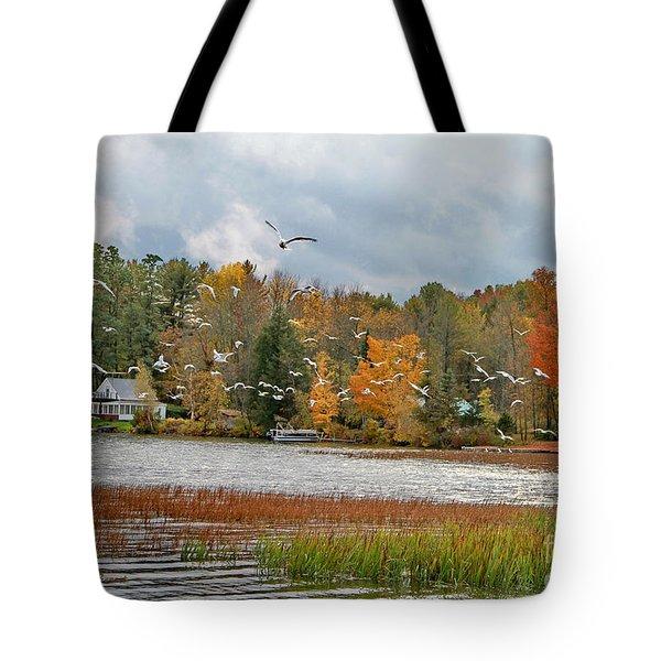 Lake Carmi Autumn 2012 Tote Bag by Deborah Benoit