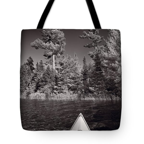 Lake Kayaking Bw Tote Bag by Steve Gadomski