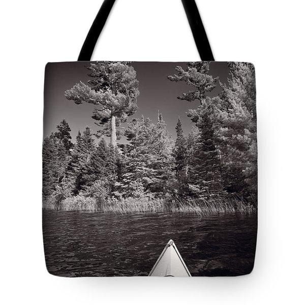 Lake Kayaking BW Tote Bag by Steve Gadomski