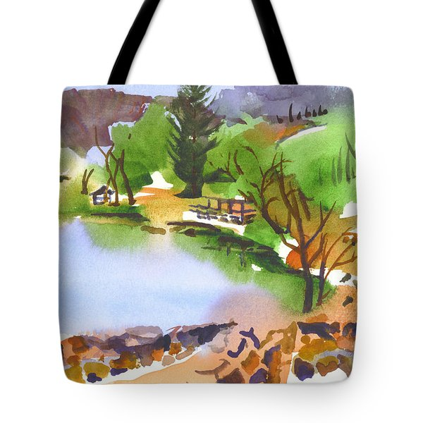 Lake Killarney with Rock Wall Tote Bag by Kip DeVore