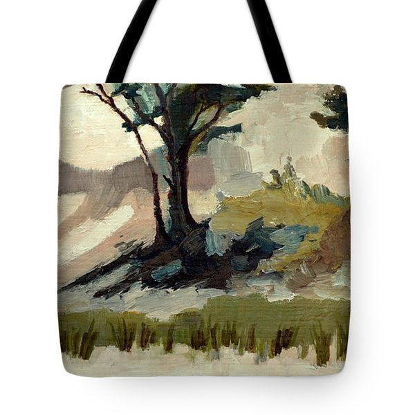 Lake Michigan Dunes With Trees Diptych 2 Tote Bag by Michelle Calkins