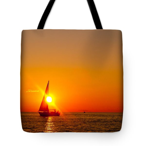 Lake Michigan Sunset Tote Bag by Bill Gallagher