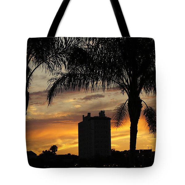 Lake Mirror Sunset Tote Bag by Laurie Perry