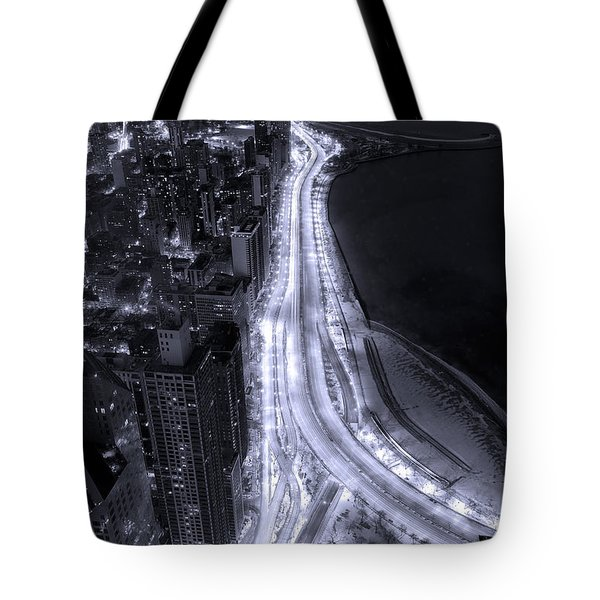 Lake Shore Drive Aerial  B And  W Tote Bag by Steve Gadomski