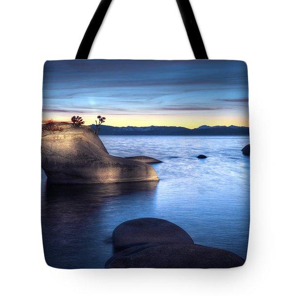 Lake Tahoe Bonsai Rock Tote Bag by Dianne Phelps