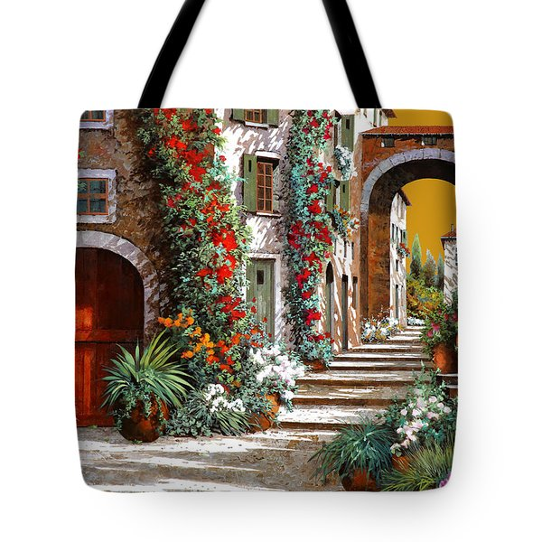 L'altra Porta Rossa Al Tramonto Tote Bag by Guido Borelli
