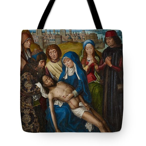 Lamentation With Saint John The Baptist And Saint Catherine Of Alexandria Tote Bag by Master of the Legend of Saint Lucy
