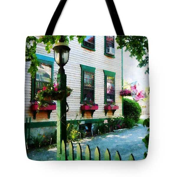 Lamp And Window Boxes Tote Bag by Susan Savad