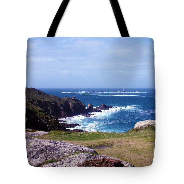 Land's End And Longships Lighthouse Cornwall Tote Bag by Terri  Waters