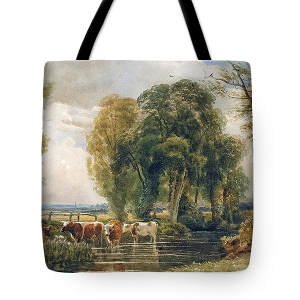 Landscape Cattle In A Stream With Sluice Gate Tote Bag by Peter de Wint