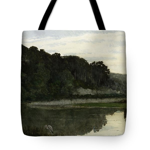 Landscape With Heron Tote Bag by William Frederick Yeames
