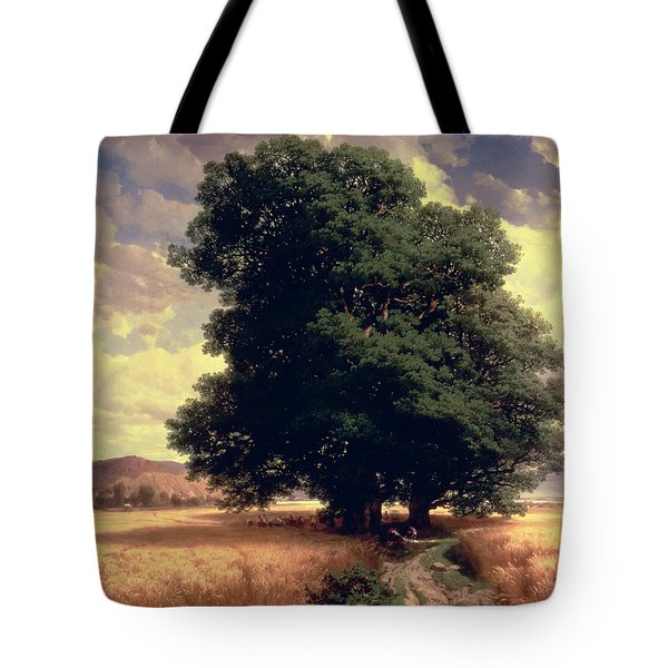 Landscape With Oaks Tote Bag by Alexandre Calame
