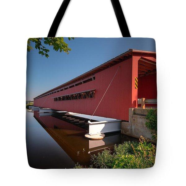 Langley Covered Bridge Michigan Tote Bag by Steve Gadomski