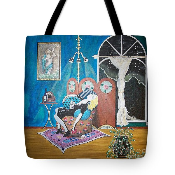 Languid Lady In A Chair Brooding Over Poetry Tote Bag by John Lyes