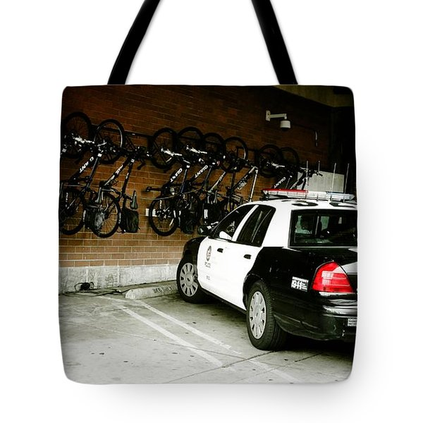 LAPD cruiser and police bikes Tote Bag by Nina Prommer