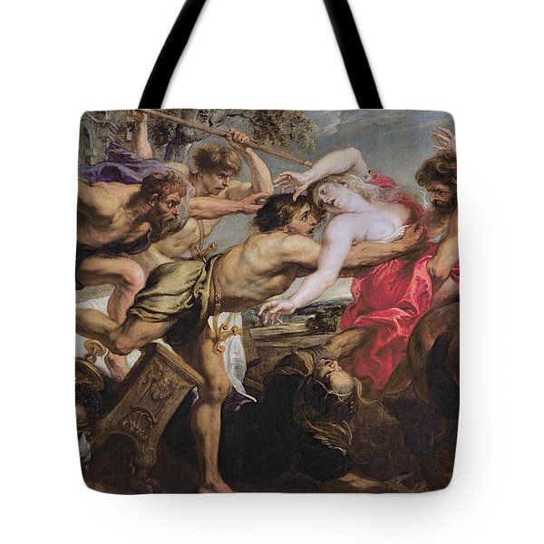Lapiths And Centaurs Oil On Canvas Tote Bag by Peter Paul Rubens