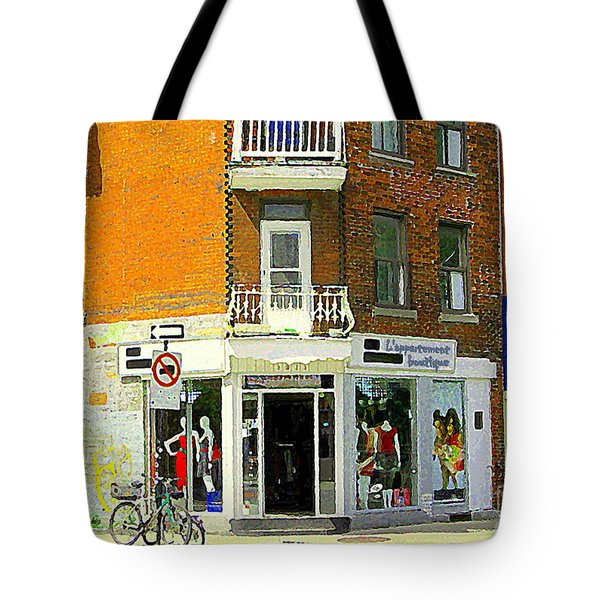 L'appartement Boutique Fashions Trendy Chic Clothing Store Ave Du Mont Royal City Scene Tote Bag by Carole Spandau