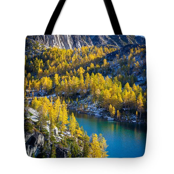 Larches At Perfection Lake Tote Bag by Inge Johnsson