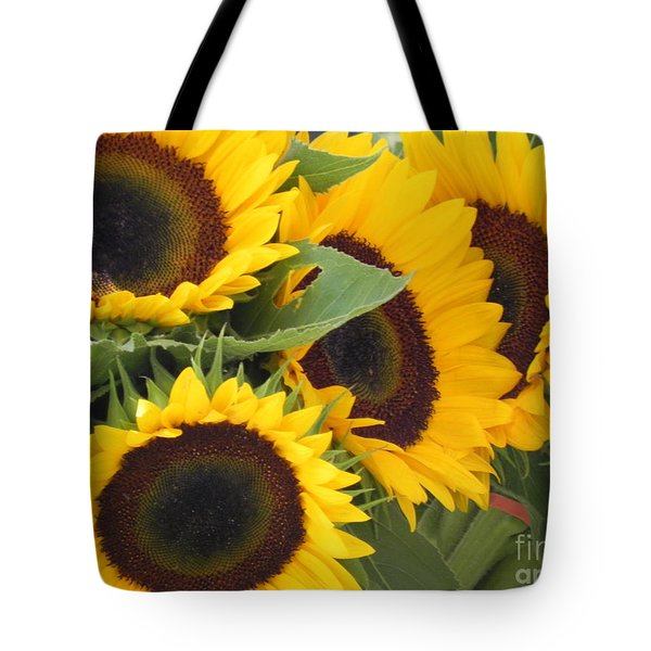 Large Sunflowers Tote Bag by Chrisann Ellis